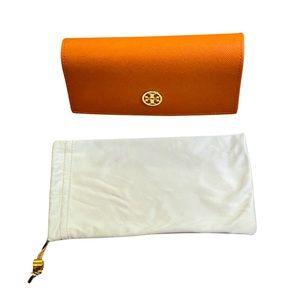 Like new Tory Burch orange glasses case & dust bag